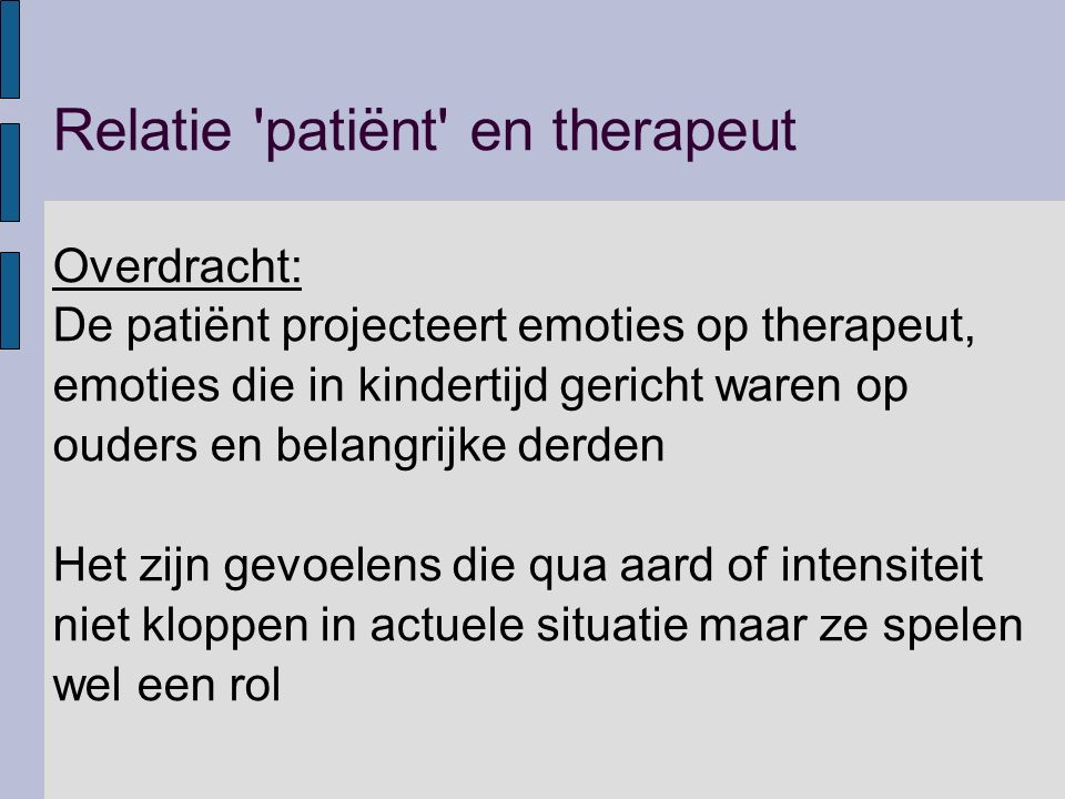 Relatie patiënt en therapeut