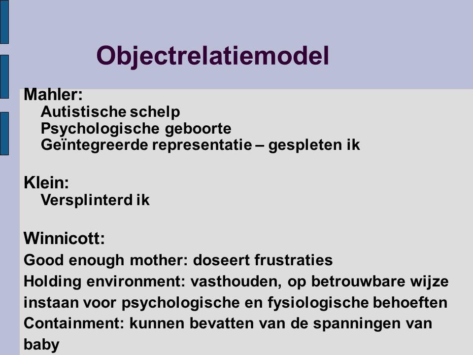 Objectrelatiemodel Mahler: Autistische schelp Psychologische geboorte Geïntegreerde representatie – gespleten ik.