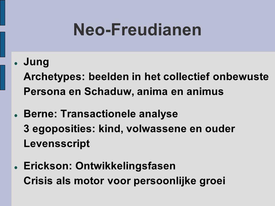 Neo-Freudianen Jung Archetypes: beelden in het collectief onbewuste Persona en Schaduw, anima en animus.