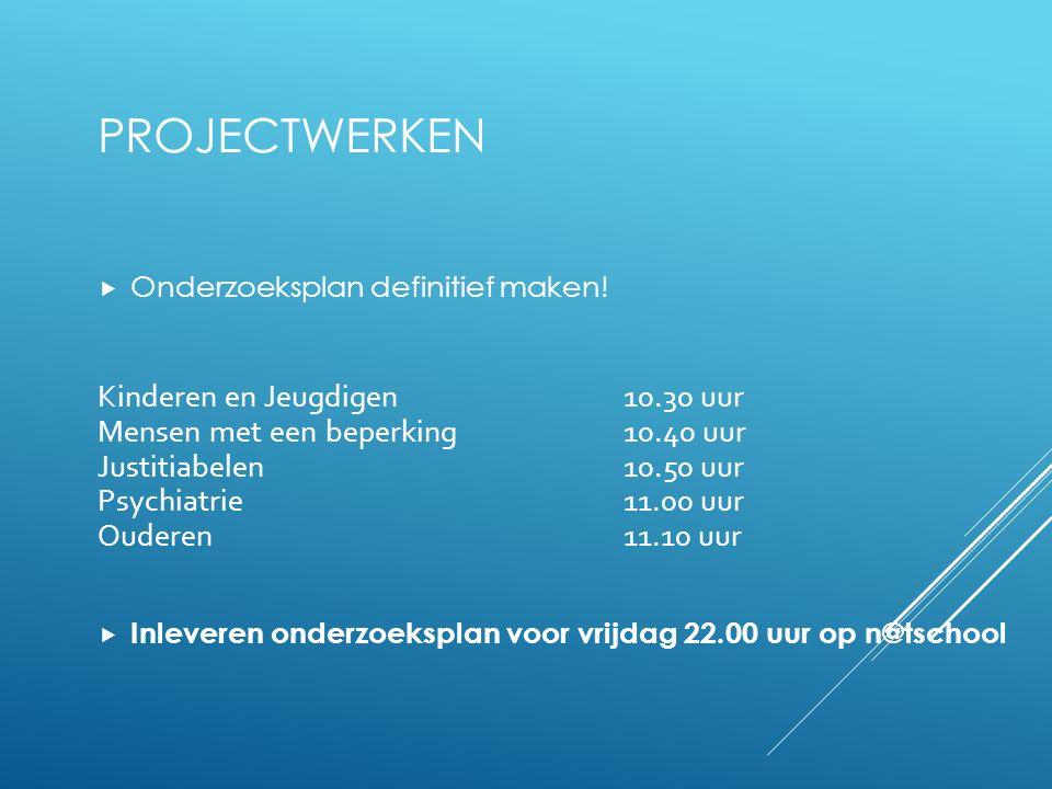 Projectwerken Onderzoeksplan definitief maken!