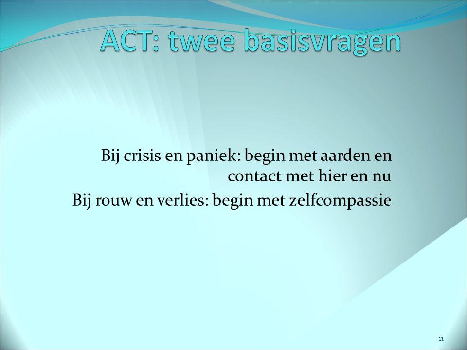 ACT: twee basisvragen Bij crisis en paniek: begin met aarden en contact met hier en nu.