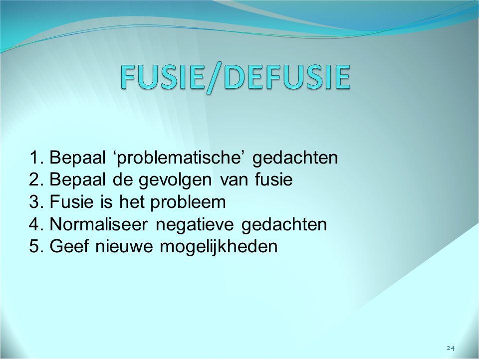 FUSIE/DEFUSIE 1. Bepaal 'problematische' gedachten