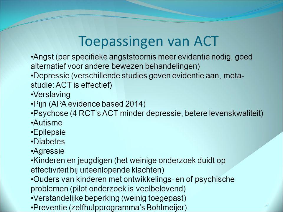 Toepassingen van ACT Angst (per specifieke angststoornis meer evidentie nodig, goed alternatief voor andere bewezen behandelingen)
