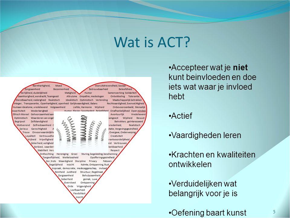 Wat is ACT Accepteer wat je niet kunt beinvloeden en doe iets wat waar je invloed hebt. Actief. Vaardigheden leren.