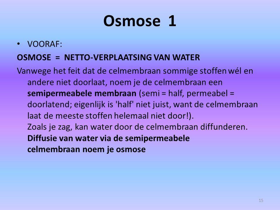 Osmose 1 VOORAF: OSMOSE = NETTO-VERPLAATSING VAN WATER