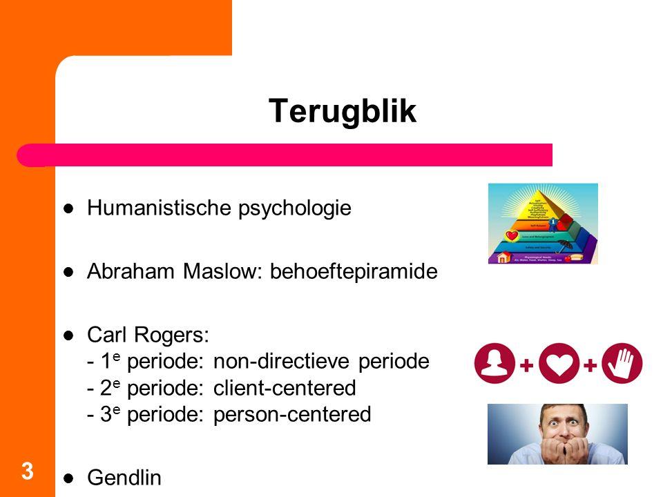 Terugblik Humanistische psychologie Abraham Maslow: behoeftepiramide