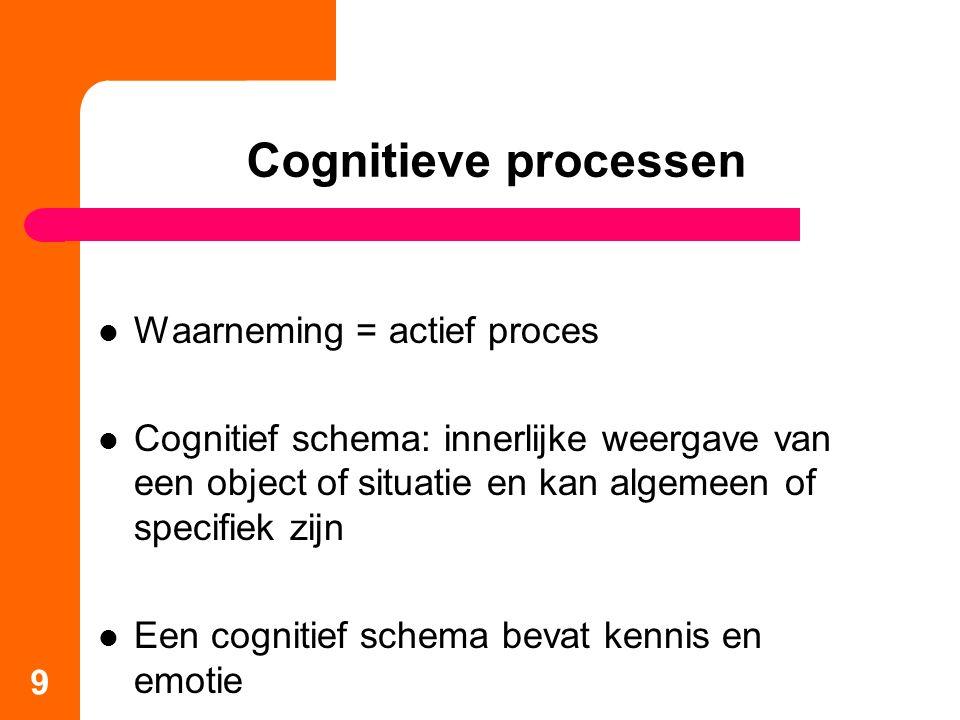 Cognitieve processen Waarneming = actief proces