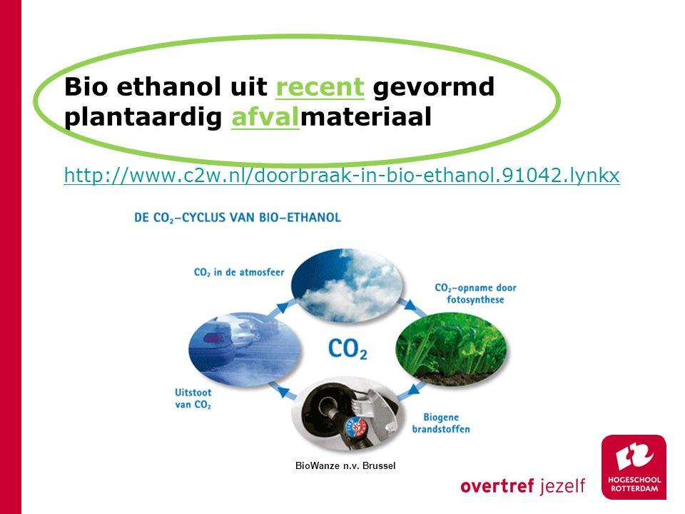 Bio ethanol uit recent gevormd plantaardig afvalmateriaal