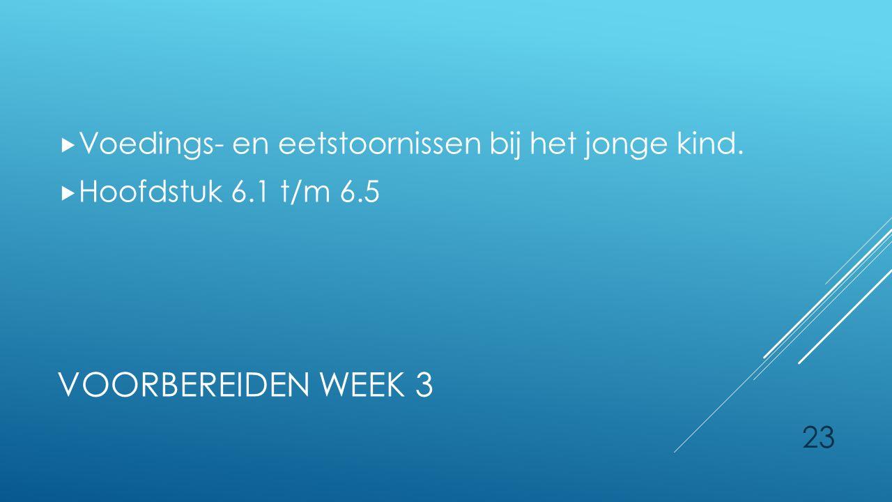 Voorbereiden week 3 Voedings- en eetstoornissen bij het jonge kind.