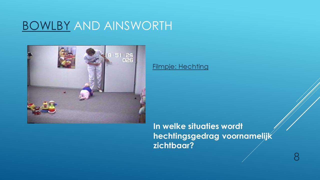 Filmpje: Hechting Bowlby and Ainsworth. In welke situaties wordt hechtingsgedrag voornamelijk zichtbaar