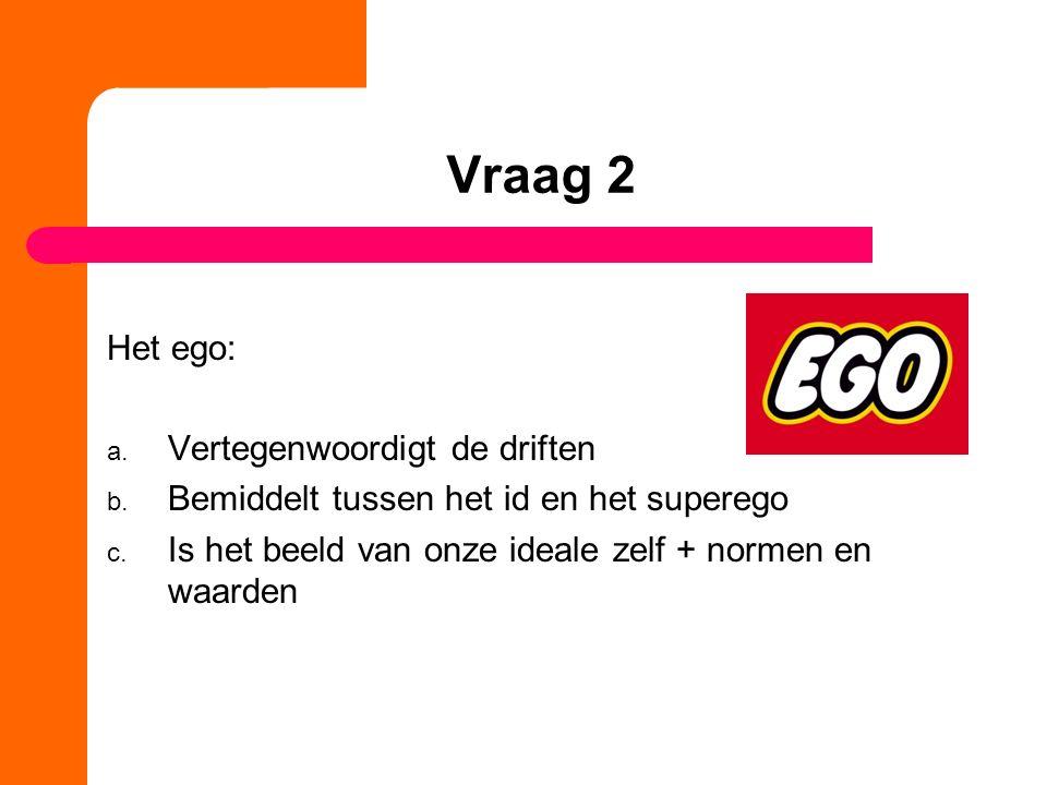 Vraag 2 Het ego: Vertegenwoordigt de driften
