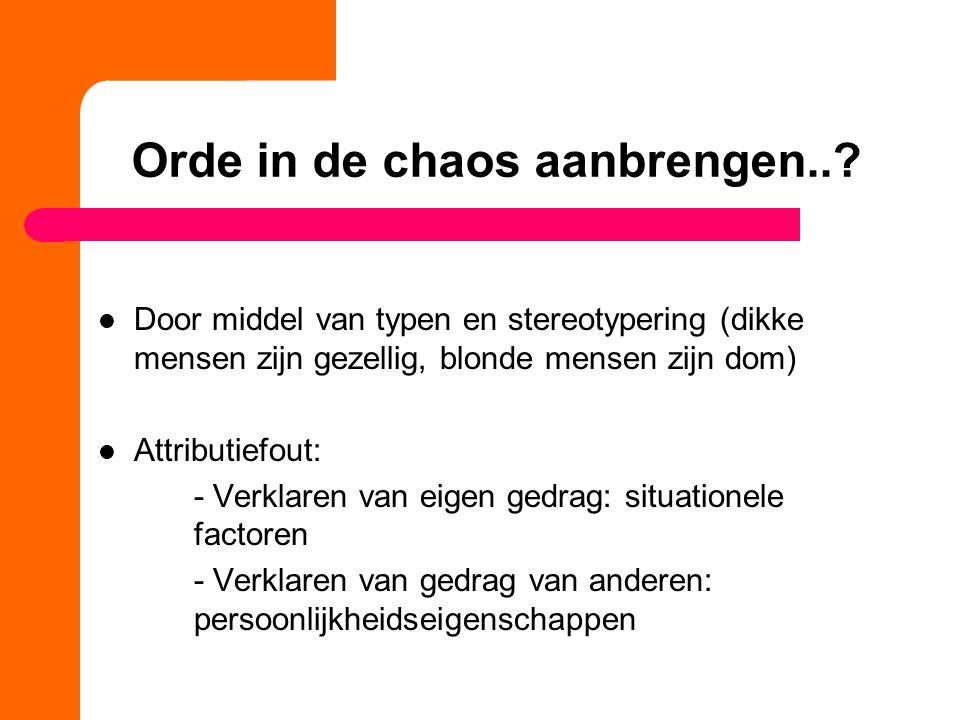 Orde in de chaos aanbrengen..