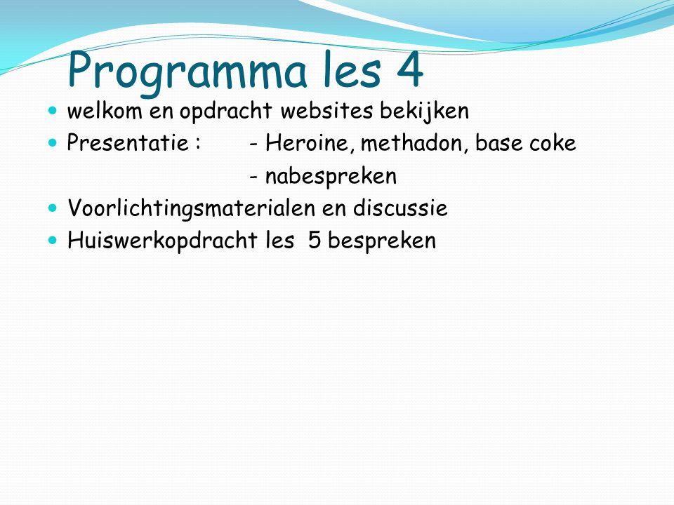Programma les 4 welkom en opdracht websites bekijken