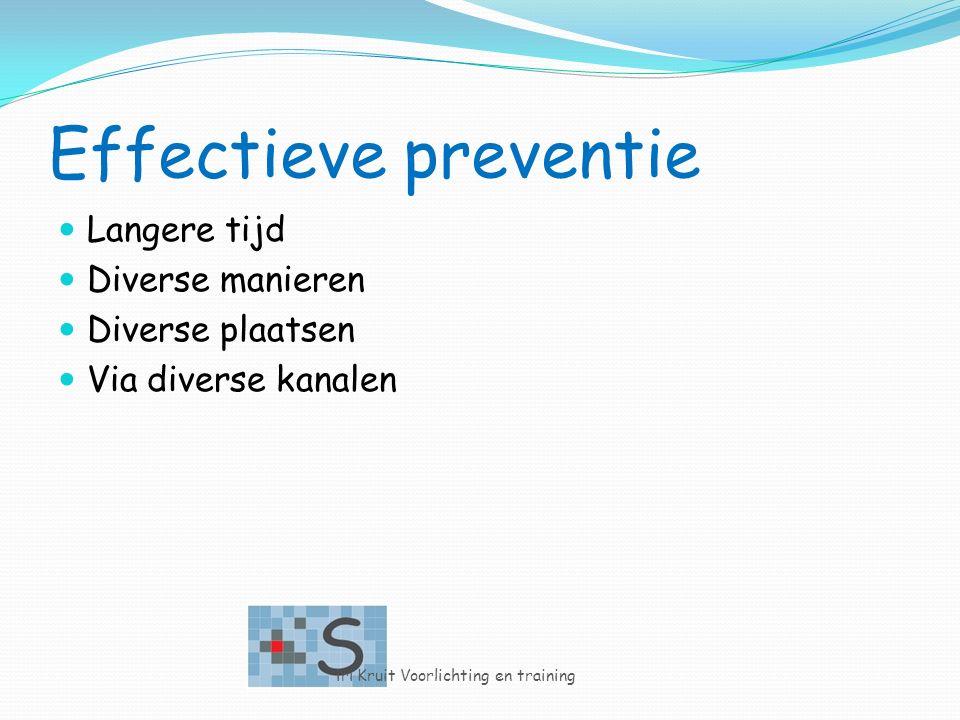 Effectieve preventie Langere tijd Diverse manieren Diverse plaatsen