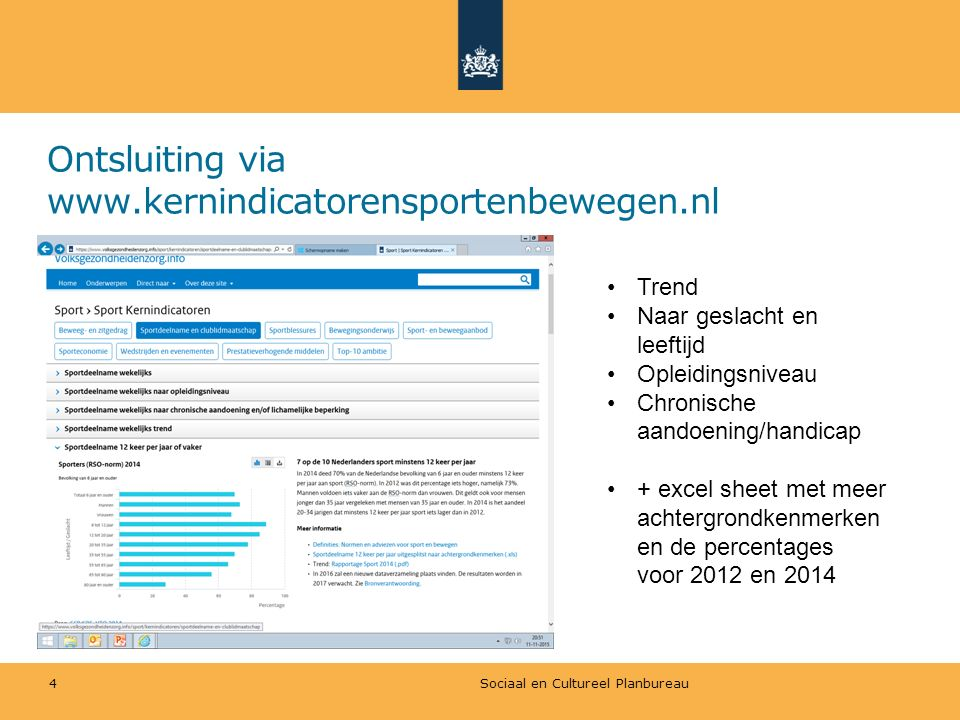 Ontsluiting via www.kernindicatorensportenbewegen.nl