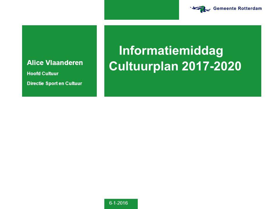 Informatiemiddag Cultuurplan 2017-2020