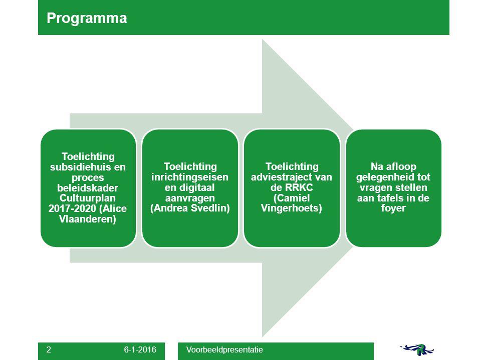 Programma Toelichting subsidiehuis en proces beleidskader Cultuurplan 2017-2020 (Alice Vlaanderen)
