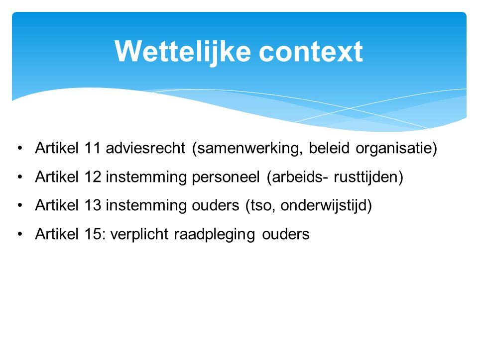 Wettelijke context Artikel 11 adviesrecht (samenwerking, beleid organisatie) Artikel 12 instemming personeel (arbeids- rusttijden)