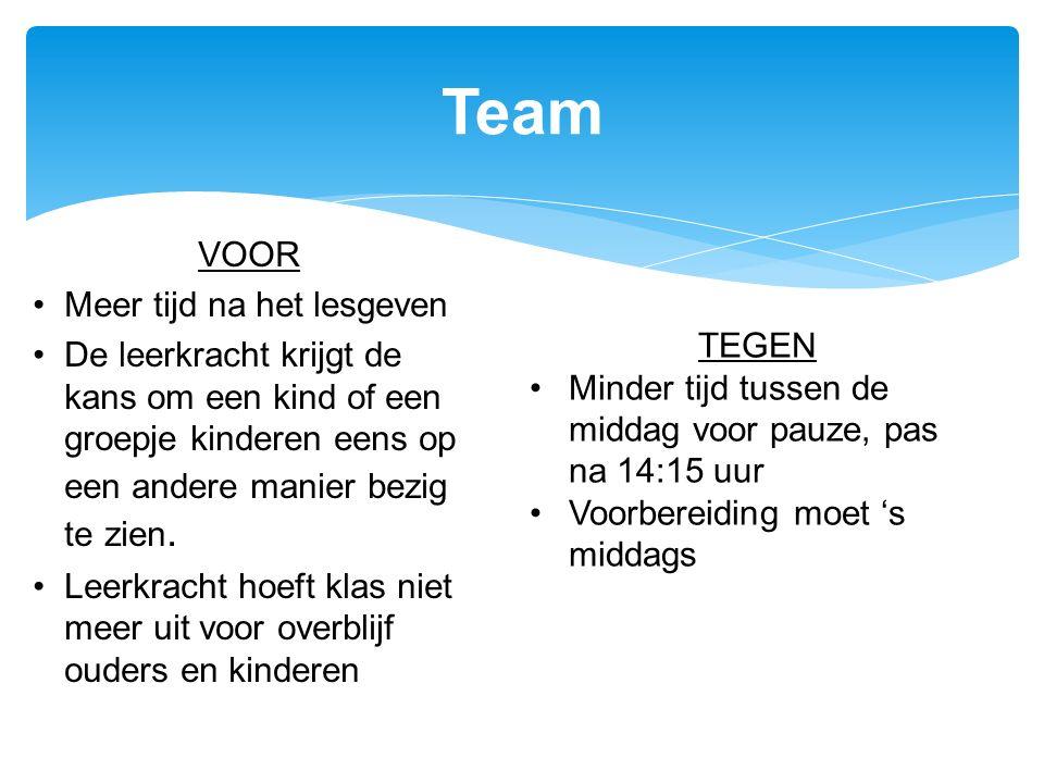 Team VOOR Meer tijd na het lesgeven