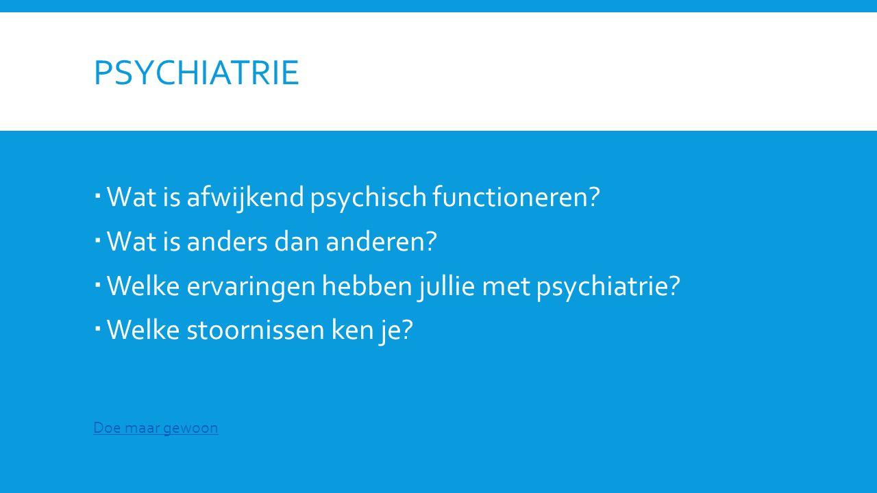 Psychiatrie Wat is afwijkend psychisch functioneren
