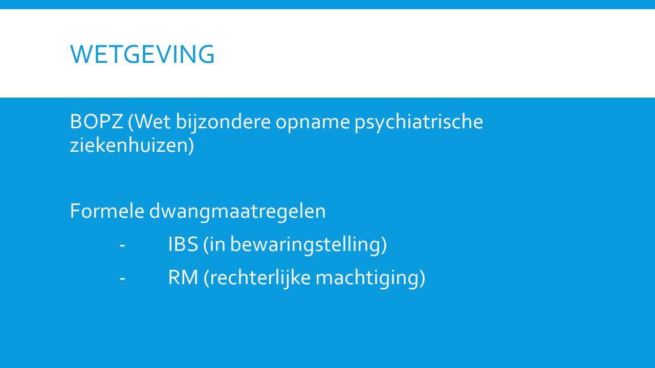 wetgeving BOPZ (Wet bijzondere opname psychiatrische ziekenhuizen)