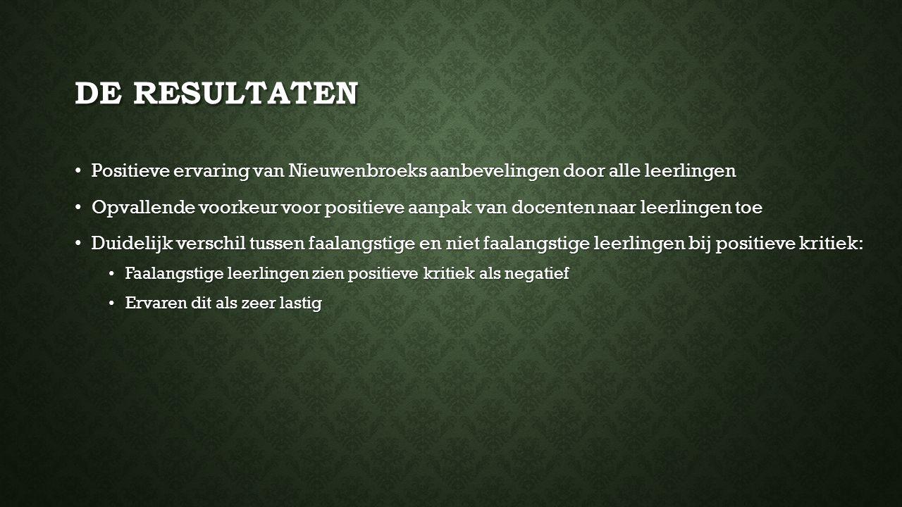 De resultaten Positieve ervaring van Nieuwenbroeks aanbevelingen door alle leerlingen.