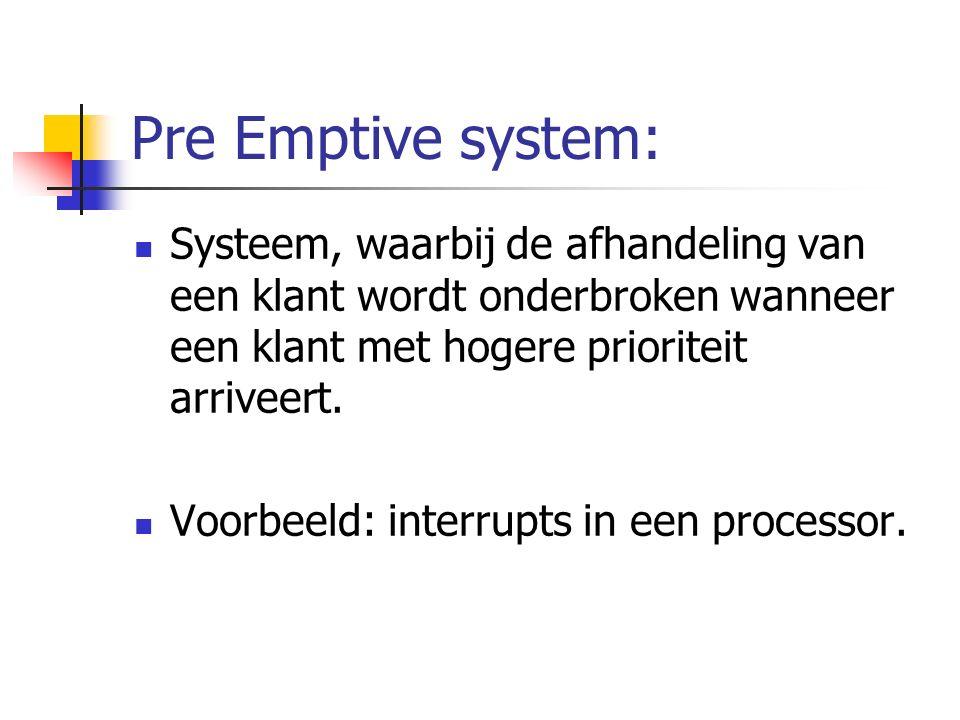 Pre Emptive system: Systeem, waarbij de afhandeling van een klant wordt onderbroken wanneer een klant met hogere prioriteit arriveert.