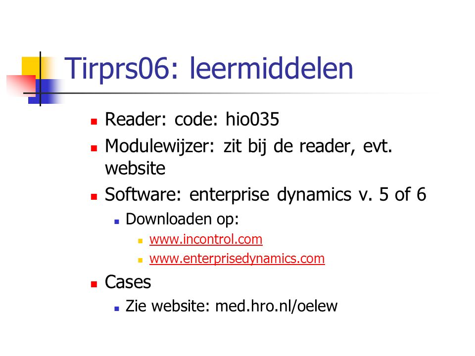 Tirprs06: leermiddelen Reader: code: hio035