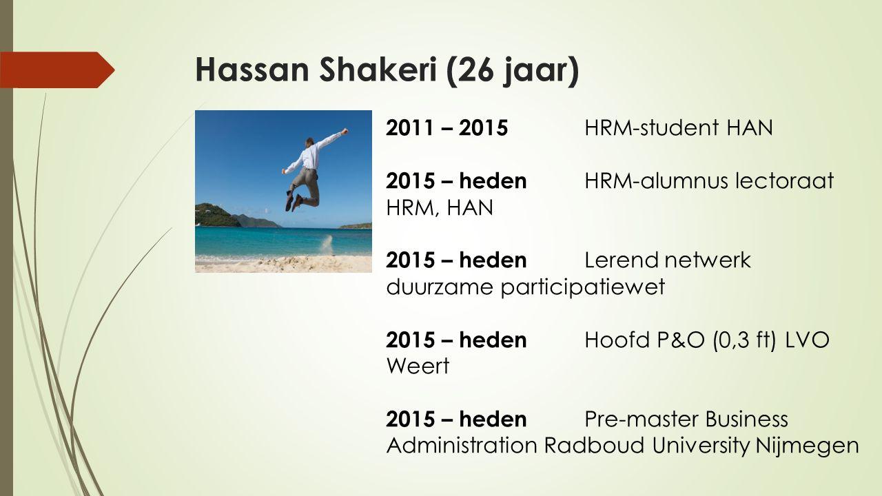 Hassan Shakeri (26 jaar) 2011 – 2015 HRM-student HAN