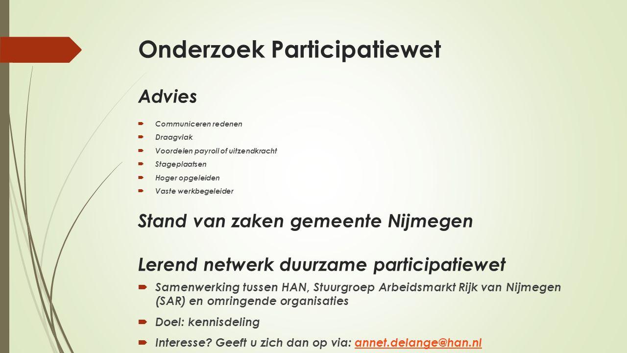 Onderzoek Participatiewet Advies