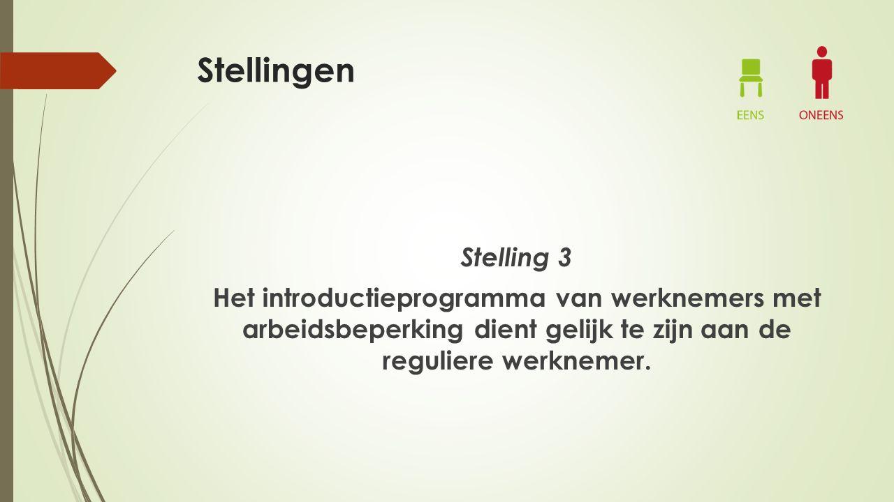 Stellingen Stelling 3 Het introductieprogramma van werknemers met arbeidsbeperking dient gelijk te zijn aan de reguliere werknemer.