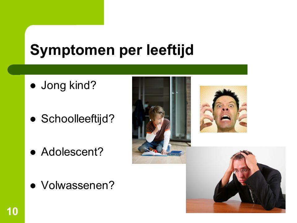 Symptomen per leeftijd