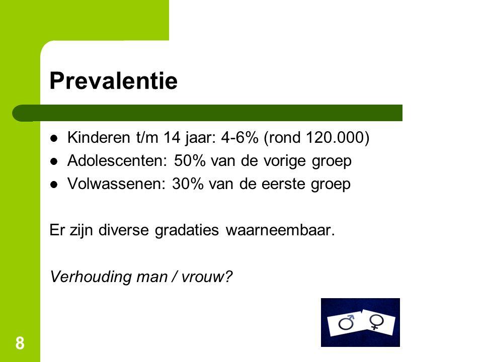 Prevalentie Kinderen t/m 14 jaar: 4-6% (rond 120.000)