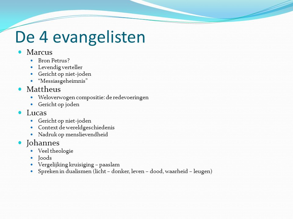 De 4 evangelisten Marcus Mattheus Lucas Johannes Bron Petrus