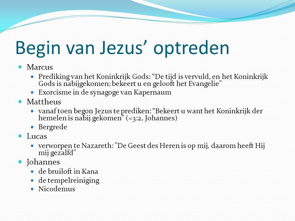 Begin van Jezus' optreden