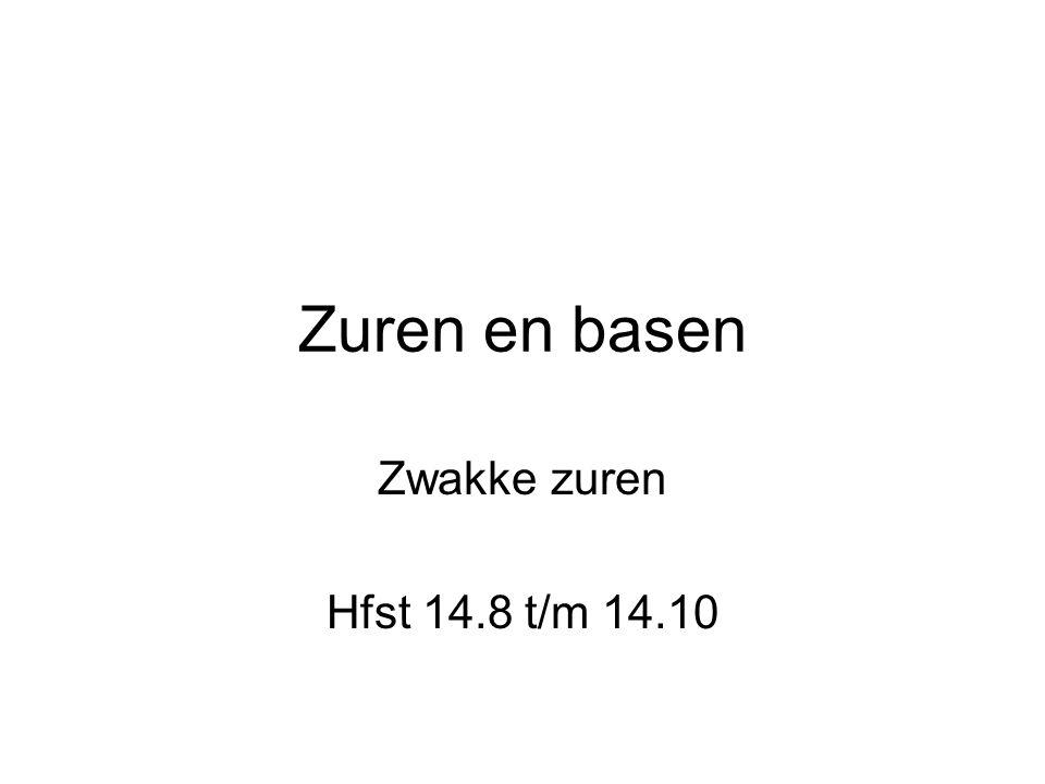 Zuren en basen Zwakke zuren Hfst 14.8 t/m 14.10