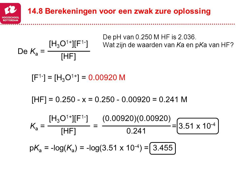 14.8 Berekeningen voor een zwak zure oplossing