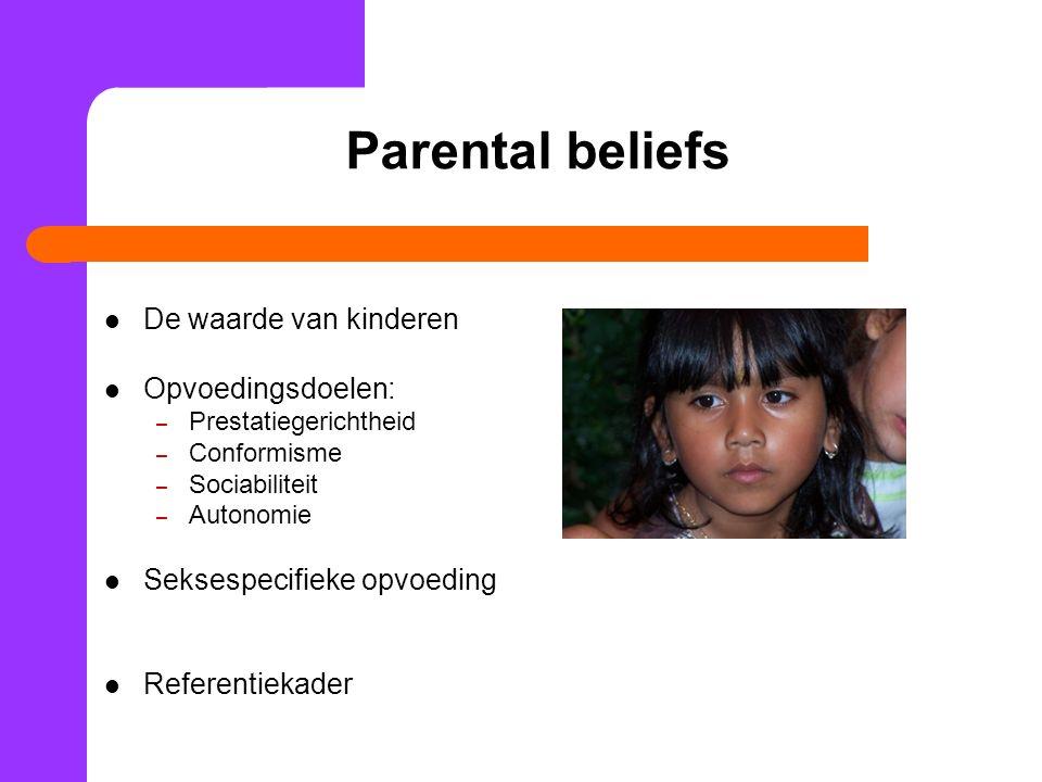 Parental beliefs De waarde van kinderen Opvoedingsdoelen:
