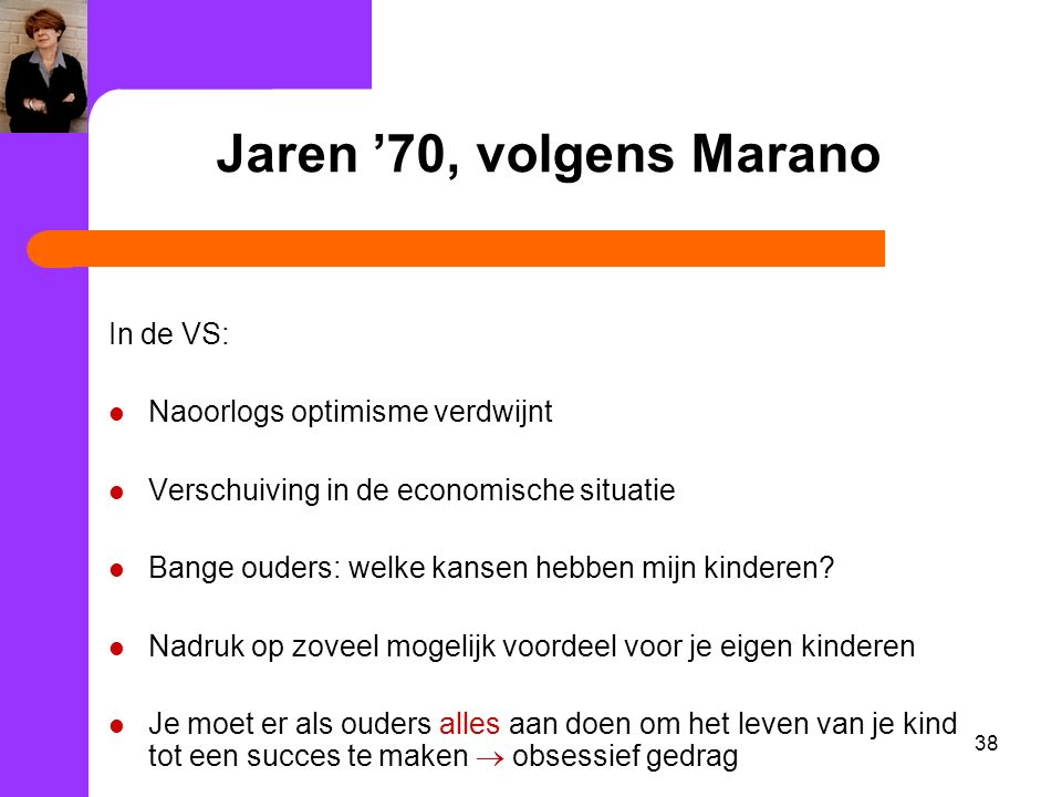 Jaren '70, volgens Marano In de VS: Naoorlogs optimisme verdwijnt