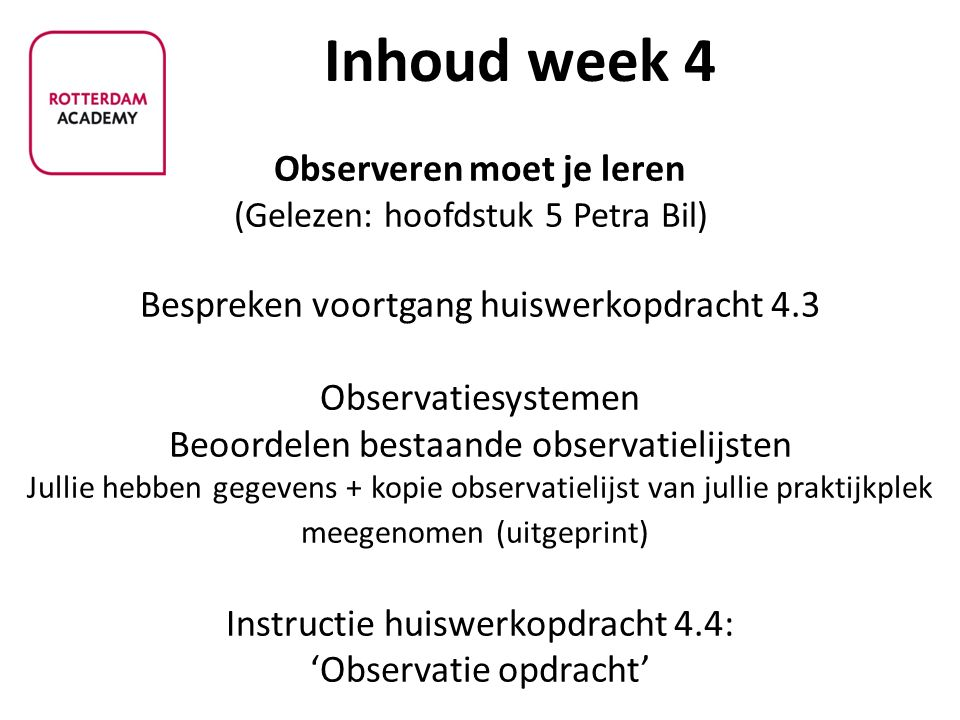 Inhoud week 4