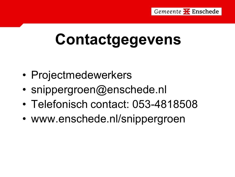 Contactgegevens Projectmedewerkers snippergroen@enschede.nl