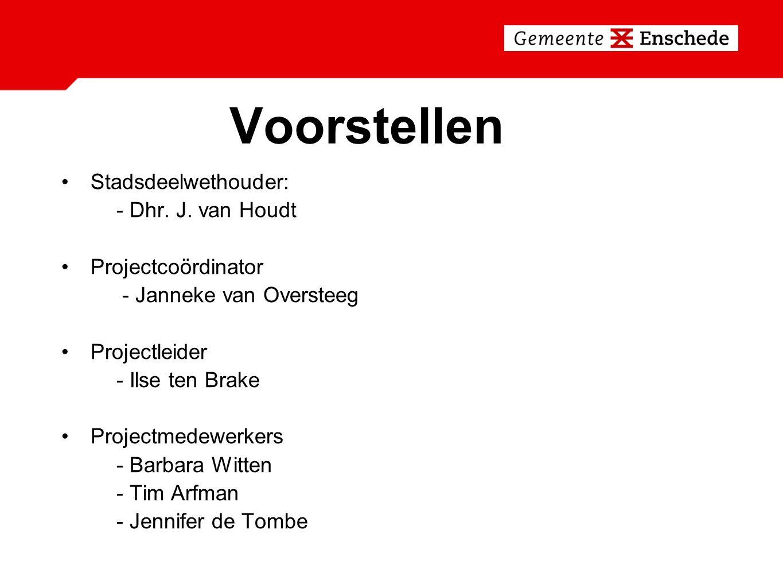Voorstellen Stadsdeelwethouder: - Dhr. J. van Houdt Projectcoördinator