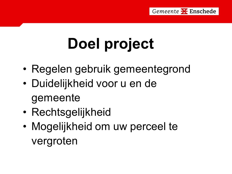 Doel project Regelen gebruik gemeentegrond