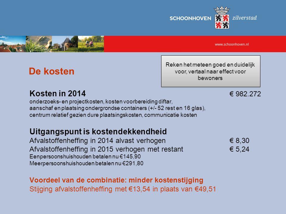 De kosten Kosten in 2014 € 982.272 Uitgangspunt is kostendekkendheid