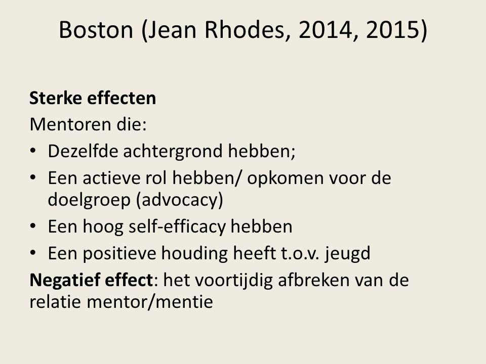 Boston (Jean Rhodes, 2014, 2015) Sterke effecten Mentoren die: