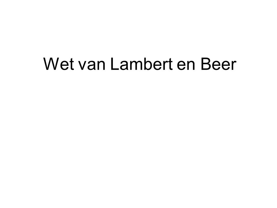 Wet van Lambert en Beer
