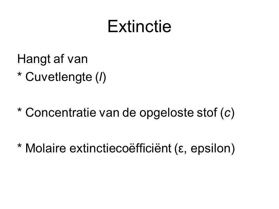 Extinctie Hangt af van * Cuvetlengte (l)