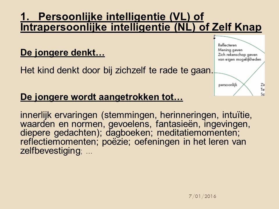1. Persoonlijke intelligentie (VL) of Intrapersoonlijke intelligentie (NL) of Zelf Knap
