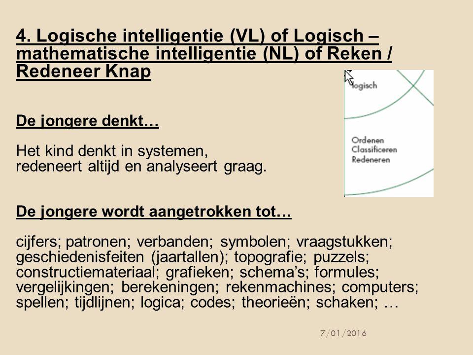 4. Logische intelligentie (VL) of Logisch – mathematische intelligentie (NL) of Reken / Redeneer Knap