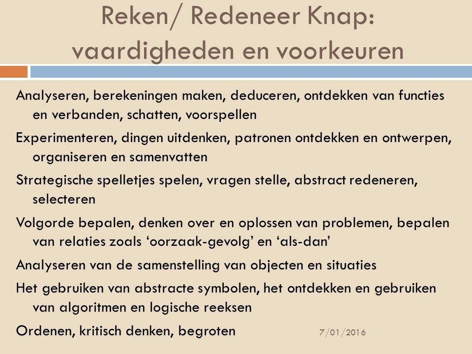 Reken/ Redeneer Knap: vaardigheden en voorkeuren